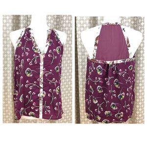 ♥️ C&E Floral Burgundy Halter Tank Boho Sleeveless